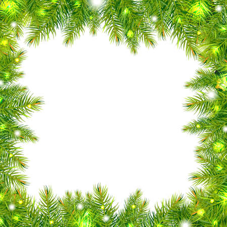 christmas border: Christmas Tree Frame With Stars, Isolated On White Background, Illustration