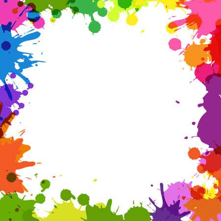 Frame Met Color Blobs, Geà ¯ soleerd Op Witte Achtergrond, Illustratie