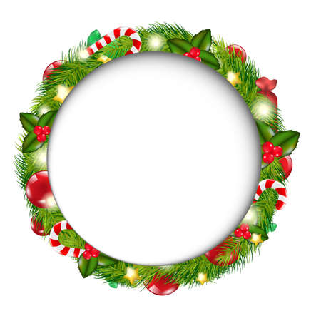 Merry Christmas Speech Bubble With Wreath, Isolated On White Background, Illustration Vector