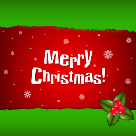 merry christmas banner: Merry Christmas Card With Holly Berry