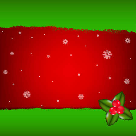 puncture: Merry Christmas Card With Holly Berry, Vector Illustration Illustration