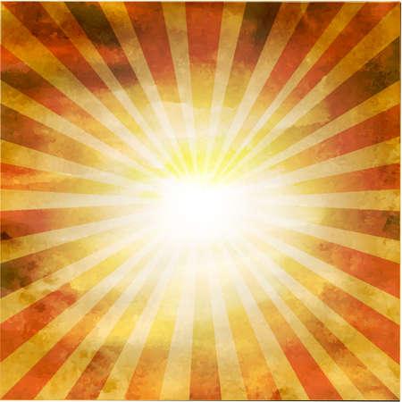 Retro Old Square Shaped Sunburst, Vector Illustration