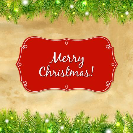Christmas Tree Frame With Label, With Gradient Mesh, Illustration Stock Vector - 16035446