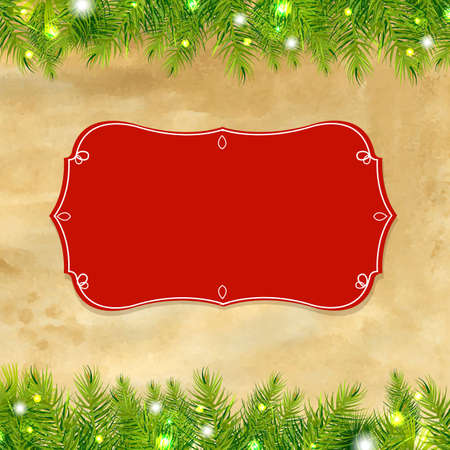 december holidays: Christmas Tree Frame With Label, With Gradient Mesh, Illustration