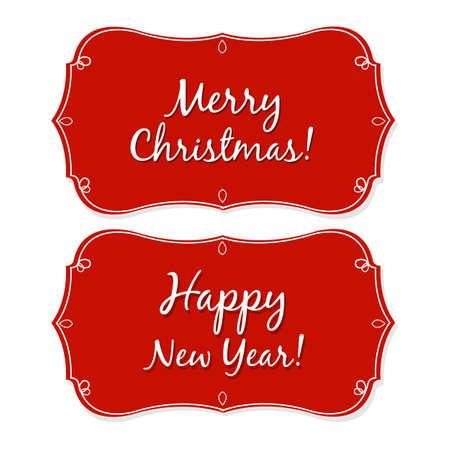 Nieuwjaar en Kerstmis Vintage Badge, Geà ¯ soleerd Op Witte Achtergrond, Illustratie Stock Illustratie