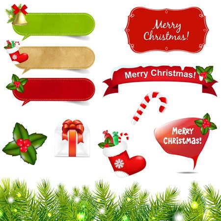 botas de navidad: Grandes iconos de Navidad Conjunto Con La Frontera Con malla de degradado, aislados en fondo blanco Ilustraci�n,