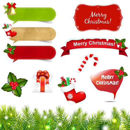 Big Christmas Icons Set With Border With Gradient Mesh, Isolated On White Background, Illustration