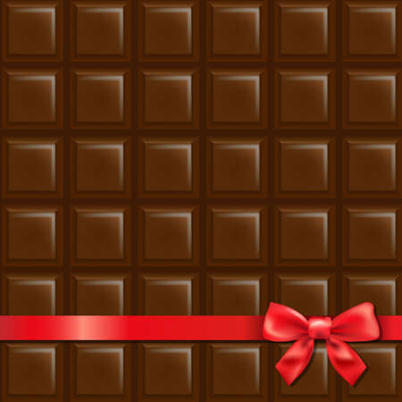 Chocolate Background With Red Bow With Gradient Mesh, Illustration Vector