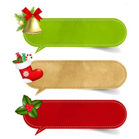 3 Christmas Speech Bubble With Gradient Mesh,  Illustration