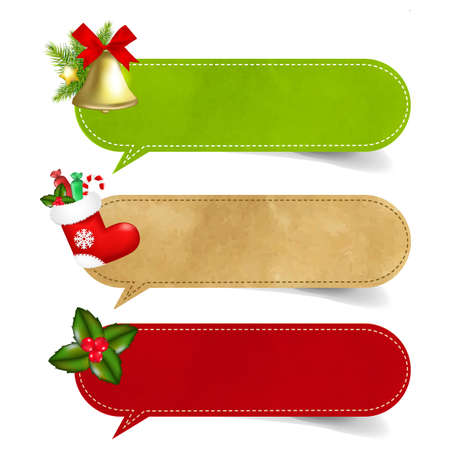 3 Christmas Speech Bubble With Gradient Mesh,  Illustration