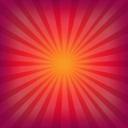 Red And Orange Background With Sunburst With Gradient Mesh, Illustration