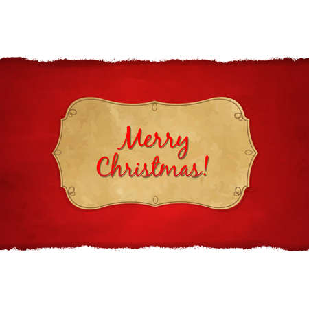 Rip White Paper And Dark Red Christmas Background With Gradient Mesh, Illustration Vector