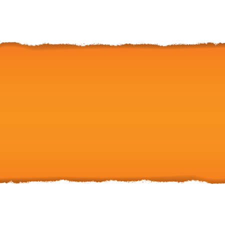 Rip White Paper And Orange Background With Gradient Mesh, Illustration