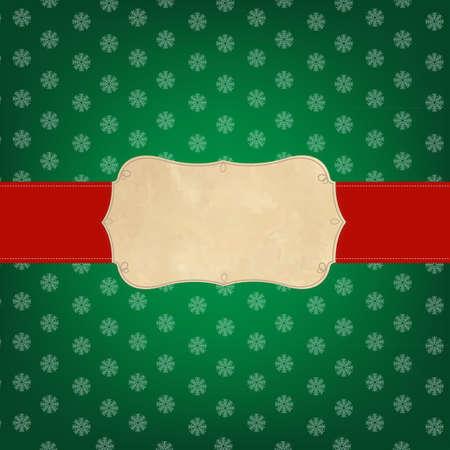 그라디언트 메쉬, 일러스트와 함께 빈티지 녹색 메리 크리스마스 라벨 일러스트