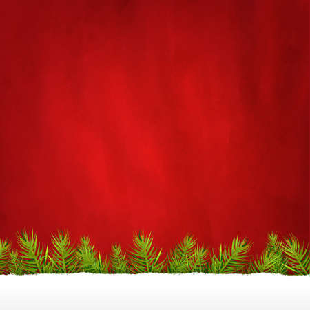 Rip Paper And Retro Red Background And Fir Tree, With Gradient Mesh, Illustration Stock Vector - 16667177