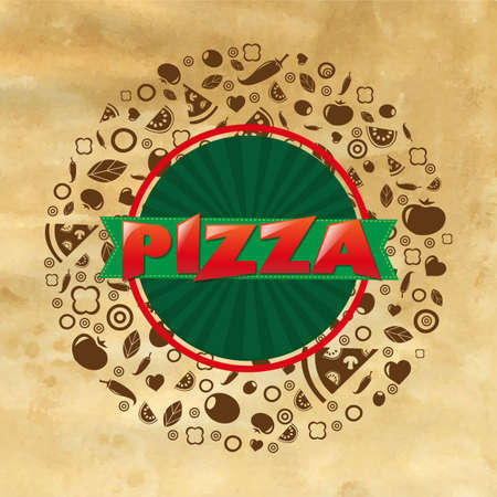 Vintage Pizza Poster With Gradient Mesh, Illustration Vector