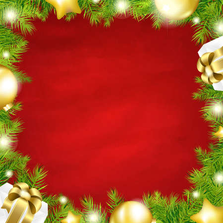 Christmas Red Background With-Fir Tree Border With Gradient Mesh, Illustration Stock Vector - 16667194