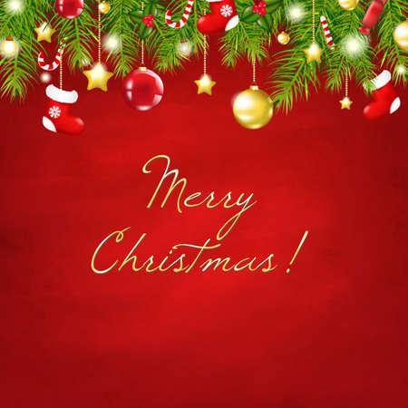 neige noel: Noël rouge Composition Happy New Year Avec filet de dégradé, Illustration