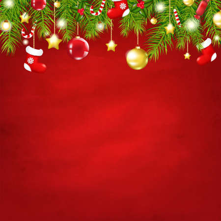 Christmas Red Happy New Year Composition With Gradient Mesh, Illustration  イラスト・ベクター素材