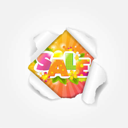 Color Sale Torn With Gradient Mesh, Illustration Stock Vector - 16667158