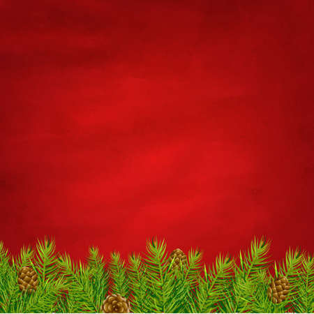 Retro Red Background And Fir Tree With Gradient Mesh, Illustration Stock Vector - 16667175