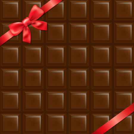 chocolate box: Chocolate Texture With Red Bow With Gradient Mesh, Vector Illustration