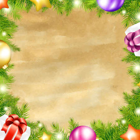 Christmas Retro Background With Xmas Fir Tree Border With Gradient Mesh, Vector Illustration Stock Vector - 16844260