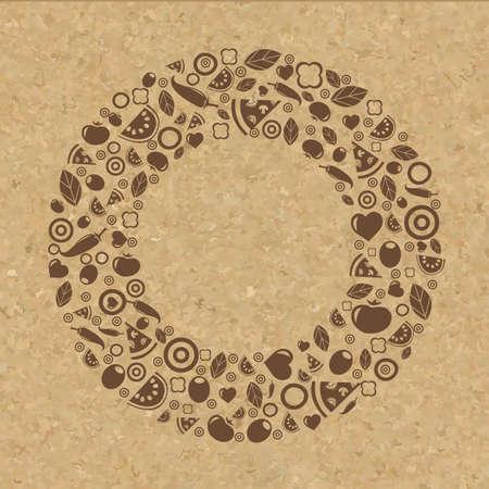grunge wallpaper: Cork Texture With Restaurant Icons, Vector Illustration Illustration