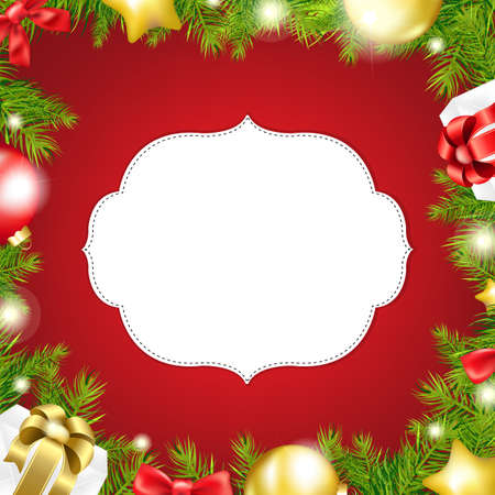 Christmas Background With Label And Ribbon Isolated On Red Background, With Gradient Mesh, Vector Illustration Stock Vector - 16846298