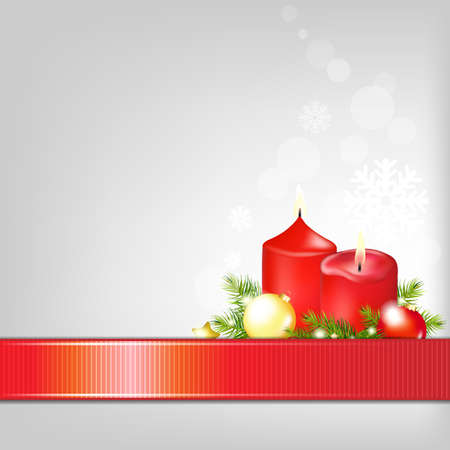 Christmas Background With Ribbon Isolated On Red Background, With Gradient Mesh, Vector Illustration Stock Vector - 16846291