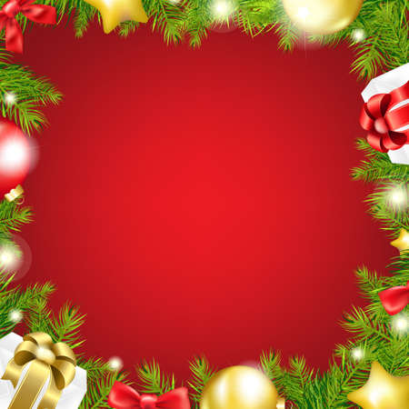 Christmas Red Background With Ribbon And Xmas Ball Isolated On Red Background, With Gradient Mesh, Vector Illustration Vector