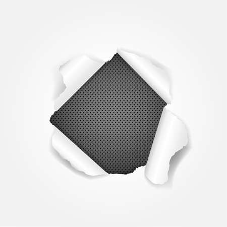torn paper edges: Black Metal Torn Isolated On White Background, With Gradient Mesh, Vector Illustration Illustration