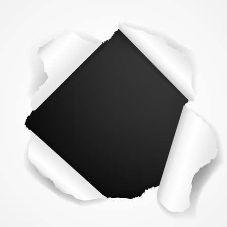 cartone strappato: Nero Torn isolato su sfondo bianco, con l'illustrazione Mesh vettore gradiente,