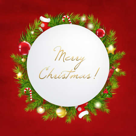 Merry Christmas Festive Card With Gradient Mesh, Vector Illustration Stock Vector - 16928026