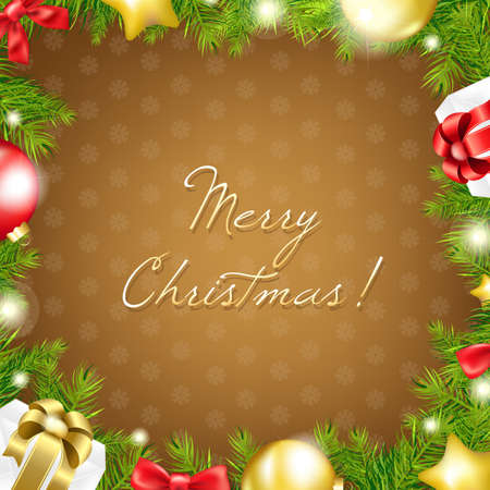 Merry Christmas Gold Wallpaper With Gradient Mesh, Vector Illustration Stock Vector - 16928023