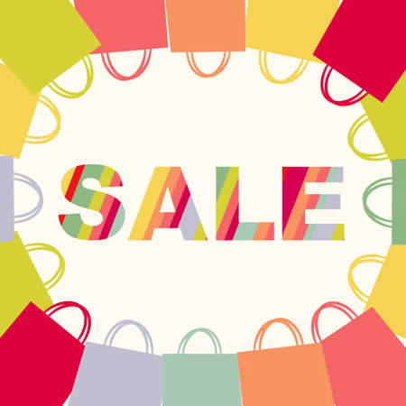 Bright Sale Poster With Bags, Isolated On White Background, With Gradient Mesh, Vector Illustration