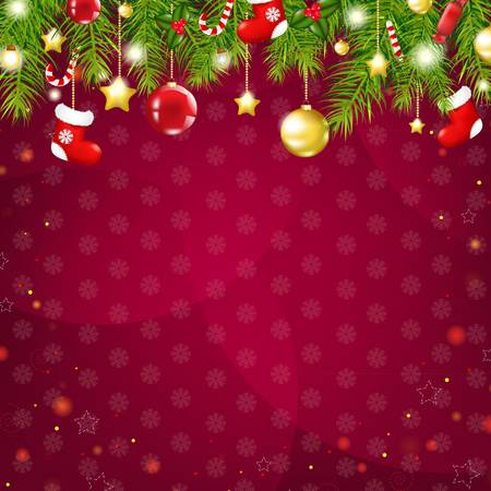 Christmas And Happy New Year Card, With Gradient Mesh, Vector Illustration Vector
