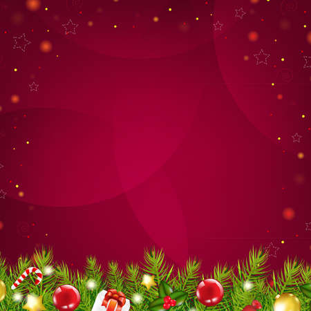 Christmas Dark Red Background With Stars And Fir Tree, With Gradient Mesh, Vector Illustration Vector