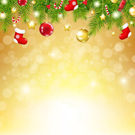 Christmas Gold Background With Bokeh, With Gradient Mesh, Vector Illustration Vector