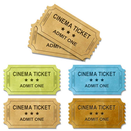 Cinema Ticket With Gradient Mesh, Isolated On White Background, Vector Illustration  イラスト・ベクター素材