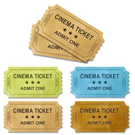Cinema Ticket Met Gradient Mesh, geïsoleerd op een witte achtergrond, vectorillustratie Stockfoto - 17331831