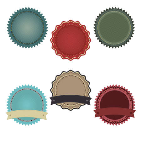 6 Promo Badges With Gradient Mesh, Isolated On White Background, Vector Illustration Vector