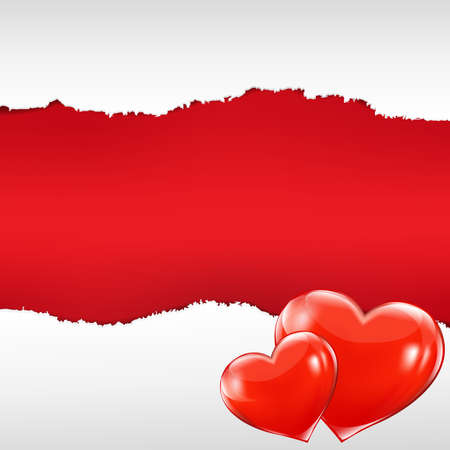 vector hearts: Red Torn Poster With Hearts With Gradient Mesh, Vector Illustration