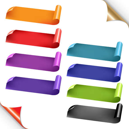 Web Colorful Ribbons Set With Gradient Mesh, Isolated On White Background, Vector Illustration
