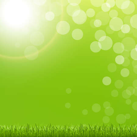 Abstract Green Bubble With Grass And Sun With Gradient Mesh, Vector Illustration Stock Vector - 17896880