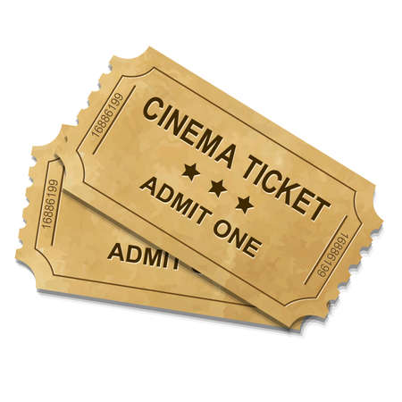 Cinema Ticket With Gradient Mesh, Vector Illustration