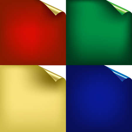 torn paper edges: 4 Color Backgrounds With Corners Gradient Mesh, Vector Illustration