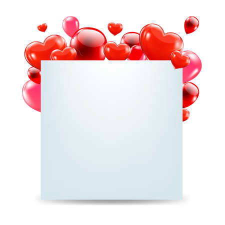 Happy Valentines Day Card With Red Hearts With Gradient Mesh, Isolated On White Background, Vector Illustration Stock Vector - 17896894