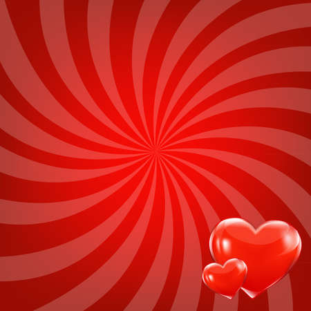Red Beams And Hearts With Gradient Mesh, Vector Illustration Stock Vector - 17896883
