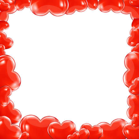 Red Hearts Frame With Gradient Mesh, Isolated On White Background, Vector Illustration Stock Vector - 17896846